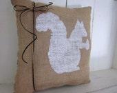 50% CLEARANCE SALE Burlap pillow, squirrel pillows, decorative pillows,farmhouse decor, nursery decor, child's pillows, squirrels, rustic