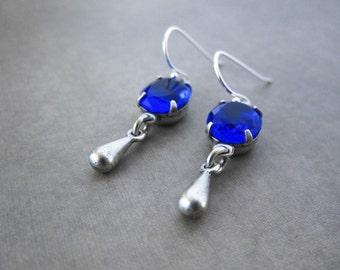 Dark Blue Earrings - Midnight Sapphire Vintage Glass Jewel - Silver Plated Brass
