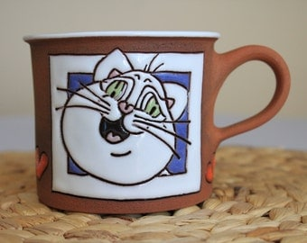 Coffee mug with white cat and hearts