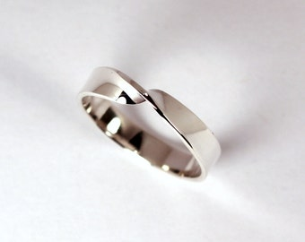 Sterling Silver Mobius Twist Ring, 4mm Wide, Made to Order