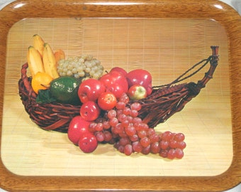 4 vintage metal trays 60s era fruit basket design faux wood