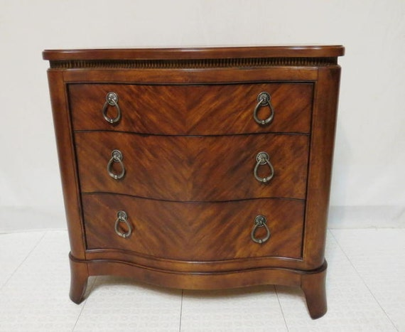 Vintage flaming mahogany bombay chest of drawers dresser