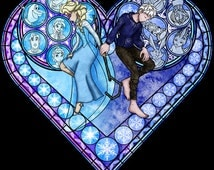 Cross Stitch Pattern for Frosted Love Elsa Kingdom Hearts Princess and Jack Frost