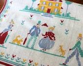 Vintage Linen Towel Tea Dish Kitchen Americana Printed Neo Colonial Cross Stitch Design