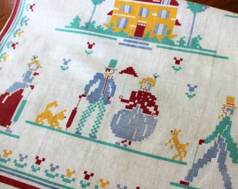 Vintage Linen Towel Tea Dish Kitchen Americana Printed Neo Colonial Cross Stitch Design