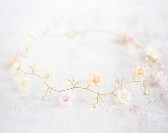 52_Gold crown, Silk flower hair crown, Bridal hair accessories, Pink crown, Wedding crown,  Peach flower crown wedding, Crown bridal, Bride.