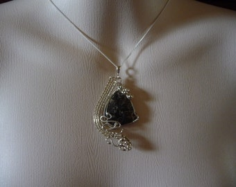 Fossilised Turritella Agate & Sterling SIlver Pendant
