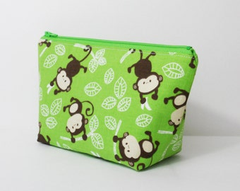 Small Makeup Bag, Monkeying Around, Cosmetic Bag, One of a Kind