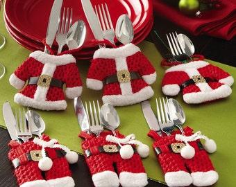 Santa Suit Christmas Silverware Utensil Holder Pockets Holiday Decor Table NEW