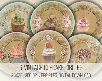 Digital Collage Sheet Download - Vintage Cupcakes 2.5 inch Circles  -  1116   for Jewelry Pendants - Instant Download Printables
