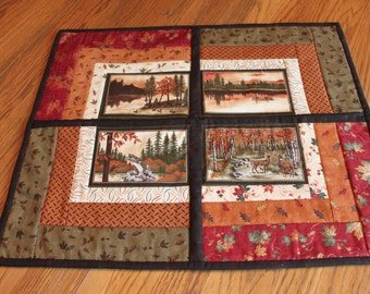 Wall Hanging - Outdoor scenes- Cabin quilt -Wall quilt- Handmade Wall Quilt