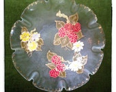 Hand-Painted Glass Bowl, Floral Fluted/Scalloped Iridescent with Gold accents