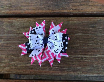 Navy and Pink Anchor Bow