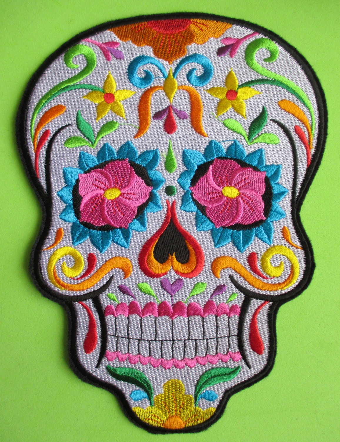 Huge Embroidered Sugar Skull Applique Patch Day of the Dead