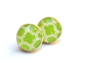 Green geometric studs wood studs green post earrings green studs eco friendly jewelry earrings wood earrings jewelry for her