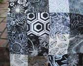 """14"""" x 14"""" PILLOW COVER batiks - 16 Classic Contrast Black and White Floral Meadow Sunbursts of Happiness"""