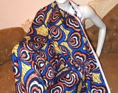 African Print Fabric Ankara Chiffon and Silk Classic 'Hearts' African Print Hollandais Fabric by The Yard - Available in Chiffon and Silk