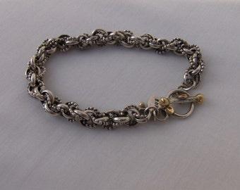 Sterling Silver and 14kt Gold Bracelet, Handmade Link Bracelet, Mixed Metal Bracelet, Chainmaille Bracelet, Silver and Gold Jewelry