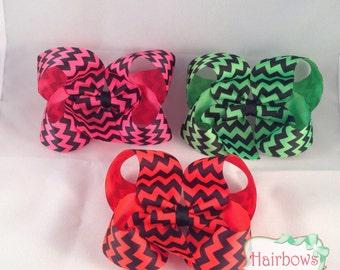 4 inch boutique style hair bow set  . Neon Pink, Neon Green, Neon Orange