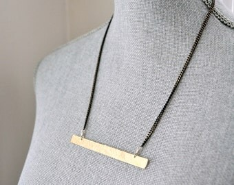 Hammered Brass Bar Minimalist Necklace // Hand Cut, Hand Hammered Brass Bar on Black Enamelled Brass Chain