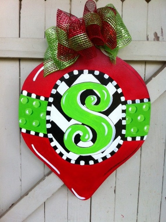 items similar to christmas ornament monogrammed green polka dot black and white chevron door