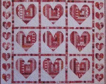 PDF Quilt Pattern -- Digital Pattern for Log Cabin Heart wall quilt (pdf)