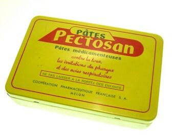 Vintage French medication tin box Pectosan yellow red