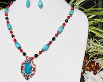 Turquoise, onyx, red coral, silver, Native American, Indian, handmade, jewelry set, OOAK, traditional, gemstone, Gift, enamel, Item 2014-241