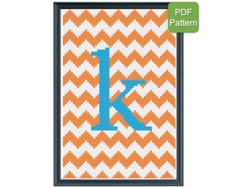 Cross Stitch Pattern - Monogram - Letter K - Initials, Personalized Pattern, Baby Gift, Wedding Present, INSTANT DOWNLOAD