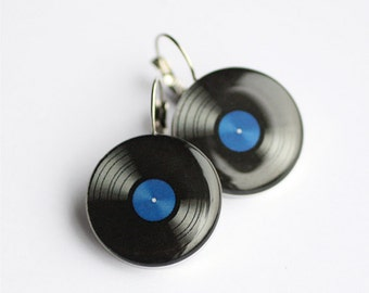 Vinyl Record earrings, LP retro earrings, Music dangle earring, black and blue, gift for her, music jewelry, retro accessory