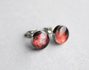 Space post earrings, Surgical steel stud, Red Universe earring stud, Stardust earring post, Tiny earring studs