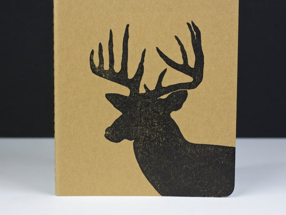 Deer in Profile Journal - Buck with antlers, Stag, Heart - medium size journal with inner pocket