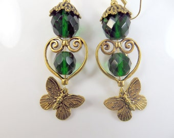 Clearance - Green and gold butterfly earrings