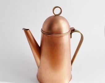 Vintage Copper Brass Coffee Pot Pitcher