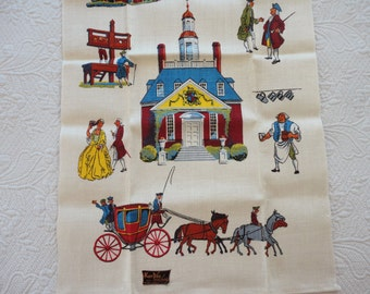 Vintage Linen Towel Featuring Early America - KayDee handprints - NOS with Tag