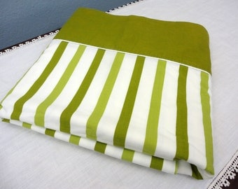 Groovy Striped Flat Twin Sheet in Avocado & Light Green by Cannon - Easy Care