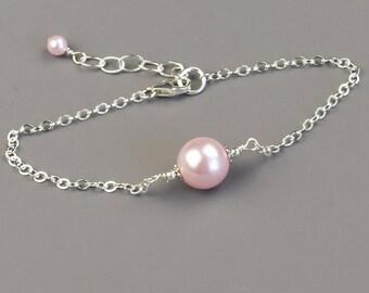 Pink Pearl Bracelet - Swarovski Pearl Bridesmaid Bracelet - Sterling Silver - Wedding Jewelry - Bridal Jewelry