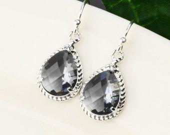 Charcoal Gray Earrings - Crystal Drop Earrings - Silver Gray Bridesmaid Earrings - Silver Grey Glass Teardrop Earrings