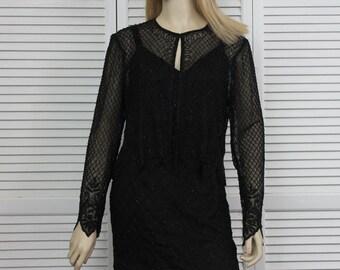 Vintage Dress Black Silk with Jacket Size 6 Petite 2 Piece BY Stenay Black