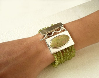 sterling silver peridot and unakite bracelet