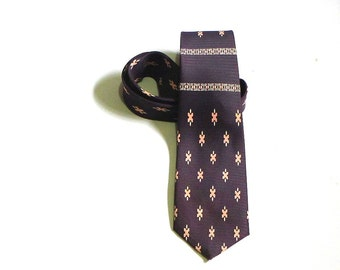 Arco Royal Brown and Salmon Geometric Necktie 1950s Dance Party Office Gift for a Cool Guy