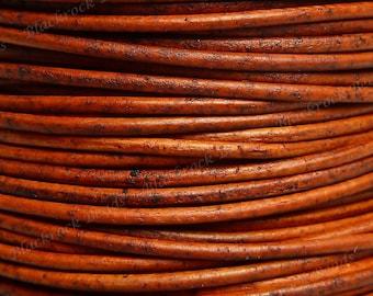1.5mm Natural Orange Premium Leather Cord - 3 Yards / 9 Feet / 2.74 Meters