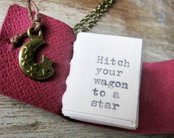 book necklace inspirational jewelry miniature book journal with quote hitch your wagon to a star by emerson handstiched leather journal