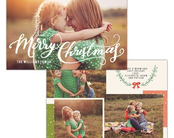 Merry Christmas Card Photoshop template - INSTANT DOWNLOAD - e1124