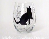 Painted Stemless Glass with Cat Silhouette
