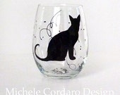 Painted Stemless Glass with Sitting Cat Silhouette