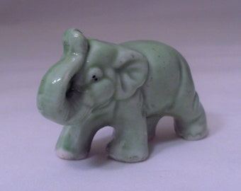 Vintage Small Green Elephant Figurine Trunk Up Japan