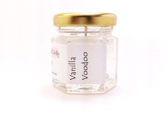 Candle Vanilla Voodoo Scented Mini Jar Gel Simple Favor Wedding Candles also available Unscented White Lover for Him Designer Novelty