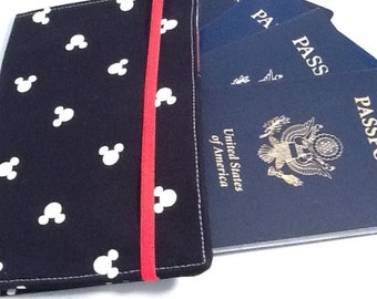Family Passport Holder, Mickey Passport Cover, Holds 4 or 6 Passports, International Travel, Disney Inspired, Disney Cruise Travel Accessory