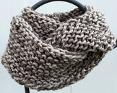 Outlander Inspired Chunky Hand Knit Infinity Scarf Gorgeous Taupe & Barley Brown